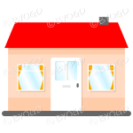 Front view single story house, bungalow, with red roof, white door and orange curtains