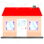 Single story house, bungalow, with red roof, white door and purple curtains