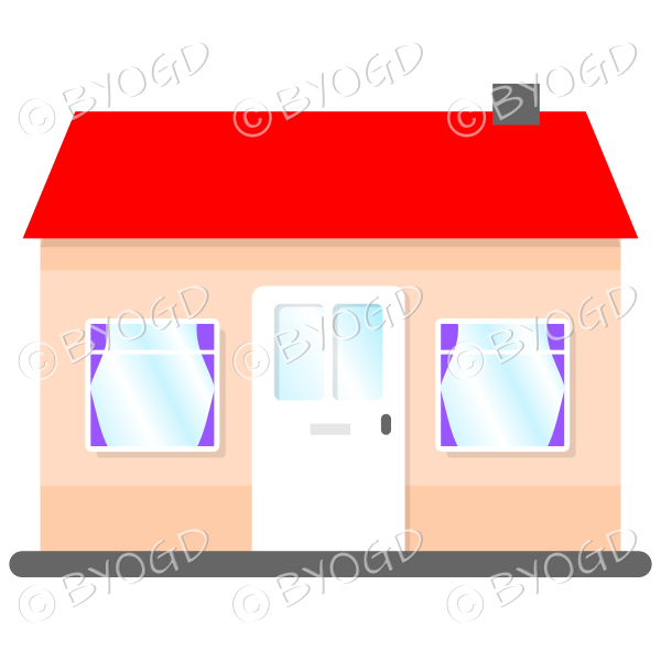 Front view single story house, bungalow, with red roof, white door and purple curtains