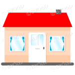 Single story house, bungalow, with red roof, white door and blue curtains