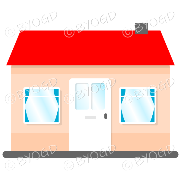 Front view single story house, bungalow, with red roof, white door and blue curtains