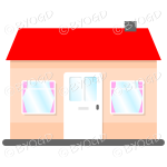 Front view single story house, bungalow, with red roof, white door and pink curtains