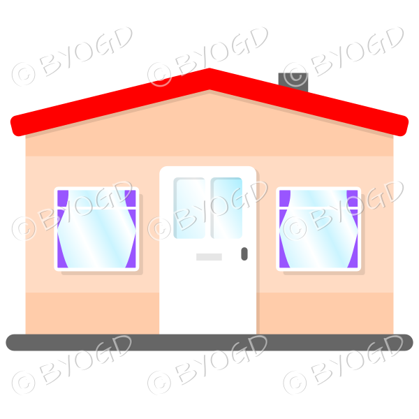 Side view single story house, bungalow, with red roof, white door and purple curtains
