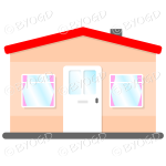 Side view single story house, bungalow, with red roof, white door and pink curtains