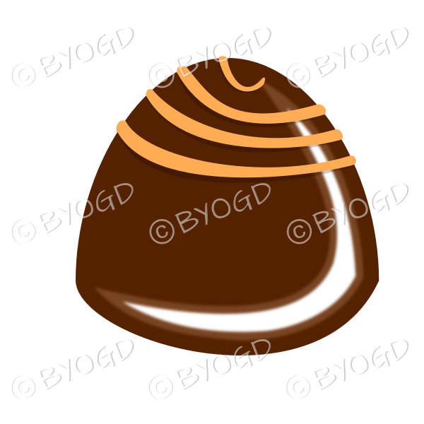 A delicious chocolate with orange swirls on top