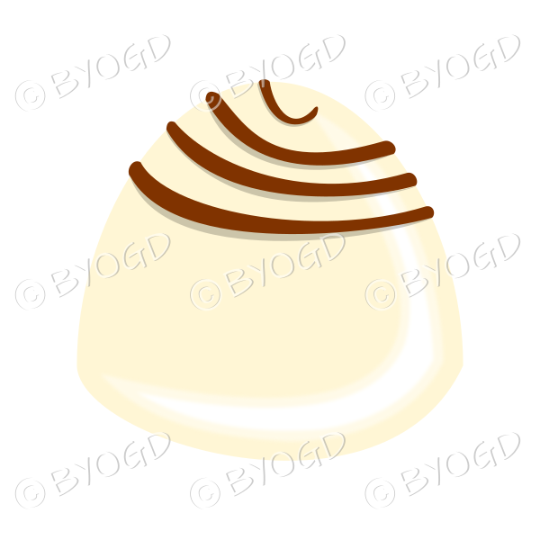 A delicious white chocolate with dark brown swirls on top