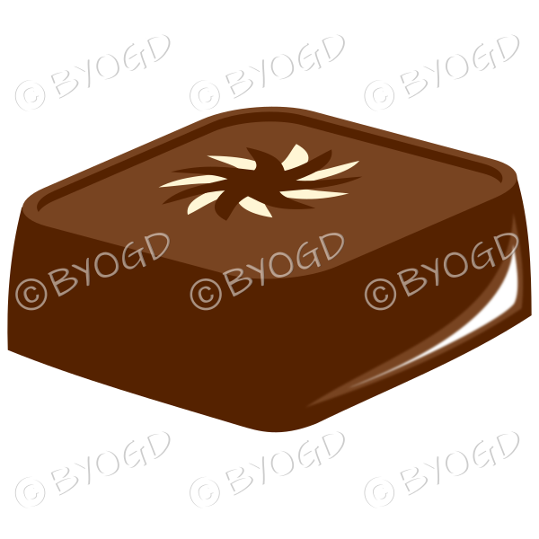 A gourmet square chocolate with star on top