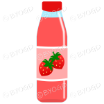 Pink bottle with pink juice and strawberries illustration