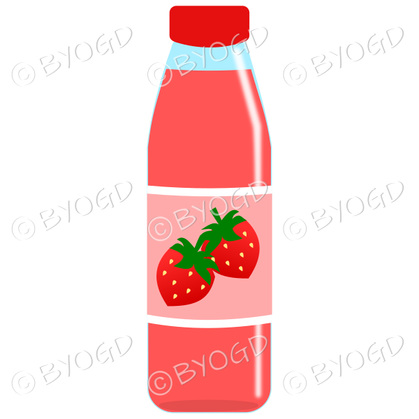 Pink bottle with pink juice and strawberries illustration.