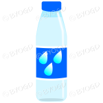 Blue bottle with clear juice and water illustration