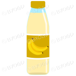 Dark Yellow bottle with yellow juice and banana illustration