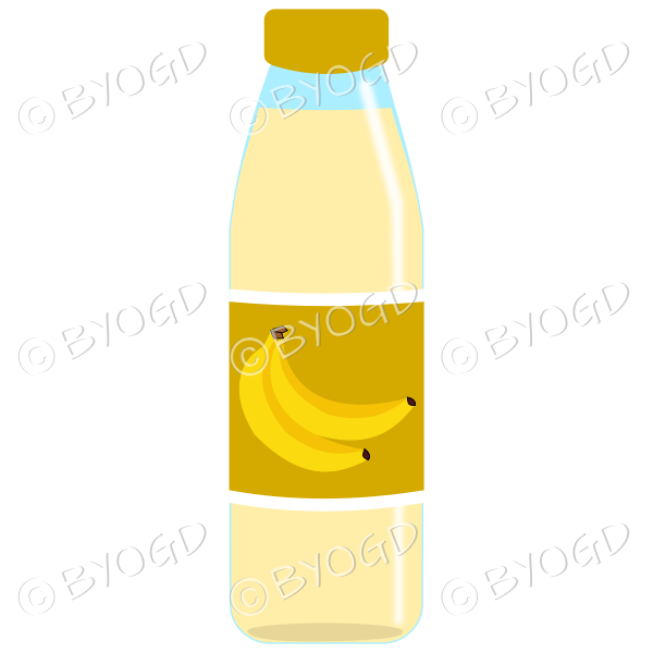Dark Yellow bottle with yellow juice and banana illustration