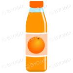 Orange bottle with orange juice and illustration