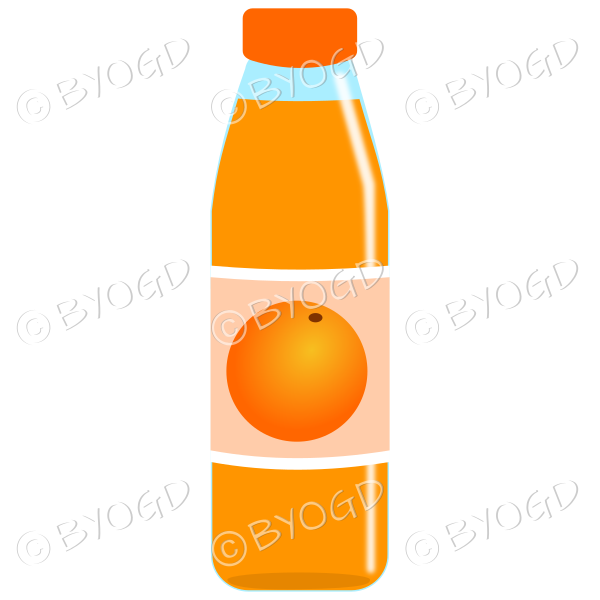 Orange bottle with orange juice and illustration