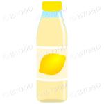 Yellow bottle with yellow juice and lemon illustration