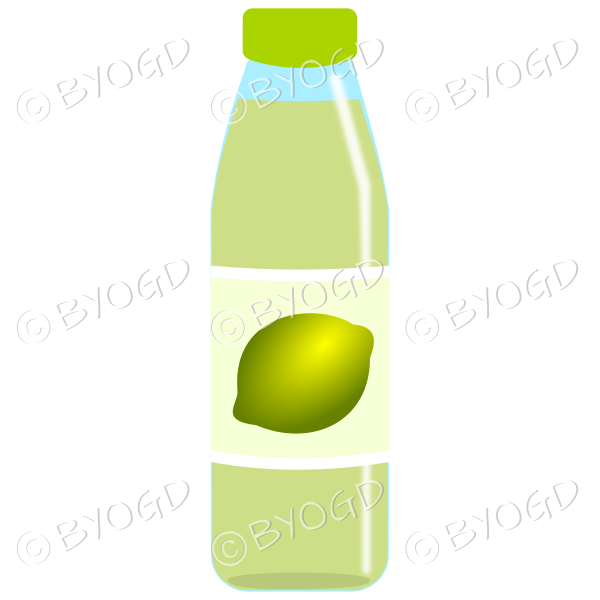 Green bottle with green juice and lime illustration