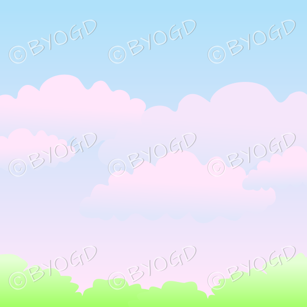 Pink sunrise or sunset in the country background