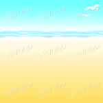 Yellow and light blue sandy beach background with seagulls flying
