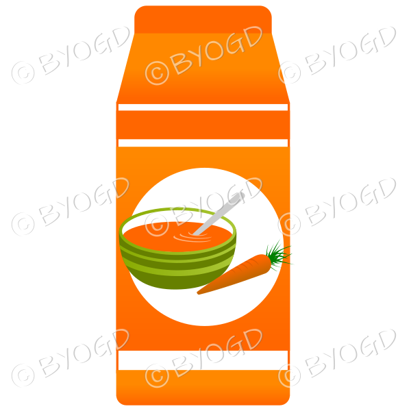 Orange food carton with soup illustration