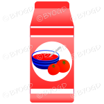 Red food carton with soup illustration