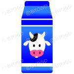 Blue food carton with milk illustration