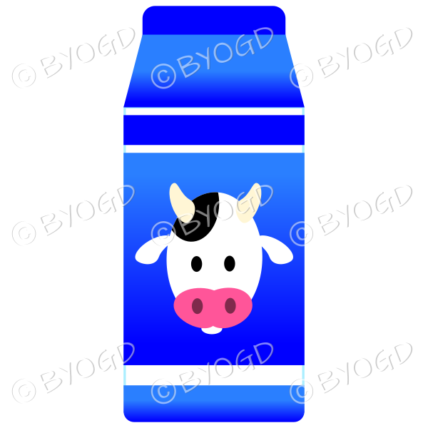 Blue food carton with milk illustration