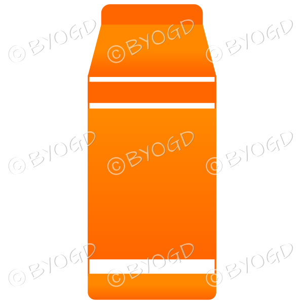 Orange food carton for milk, soup or juice