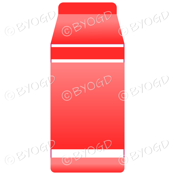 Red food carton for milk, soup or juice