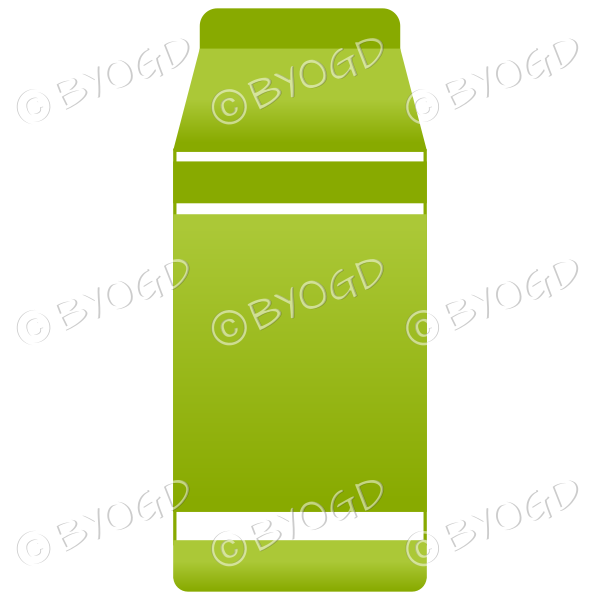 Green food carton for milk, soup or juice