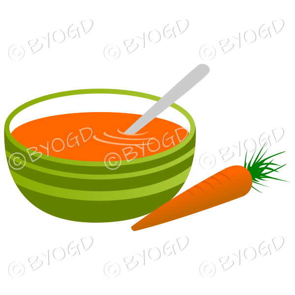 Orange carrot soup in a green bowl with a carrot