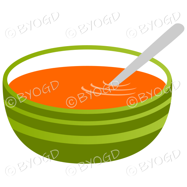 Orange carrot soup in a green bowl