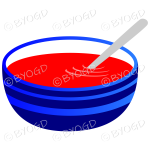Red tomato soup in a blue bowl