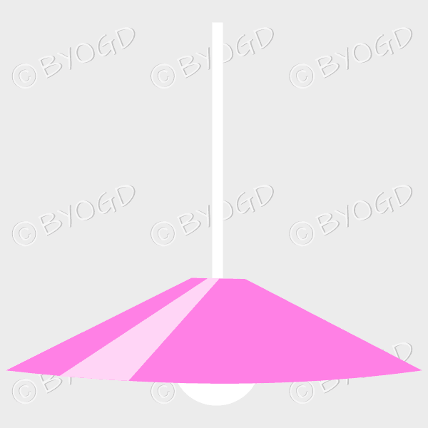 Pink lamp shade with white light bulb for home or office
