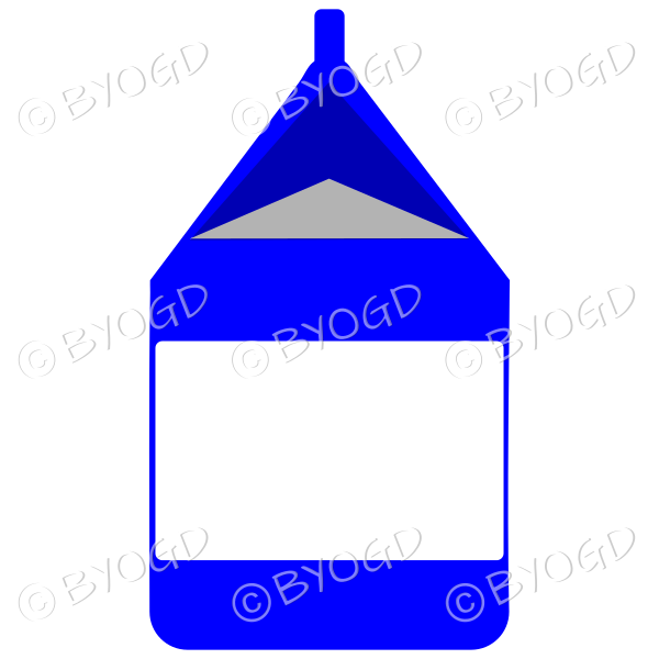Blue food carton for milk, soup or juice