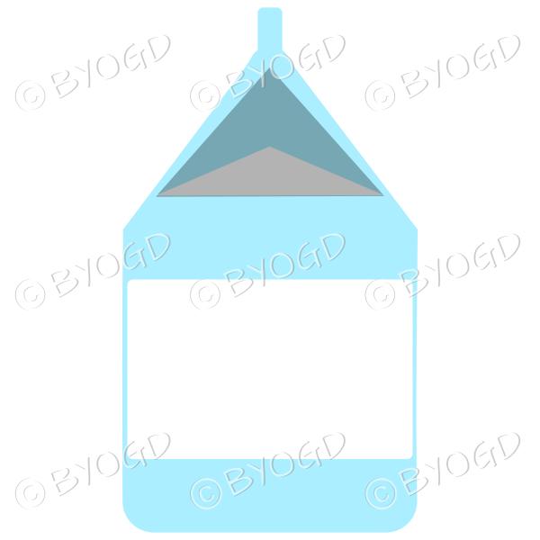 Light blue food carton for milk, soup or juice