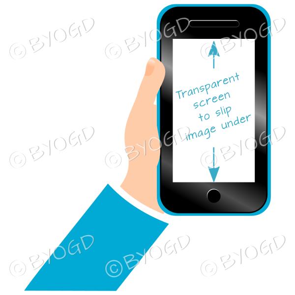 Hand holding clear screen smart phone - Light Blue