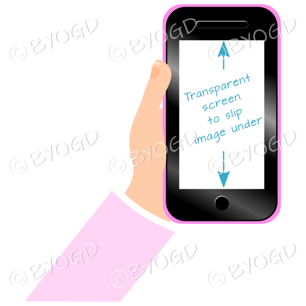 Hand holding clear screen smart phone - Pink