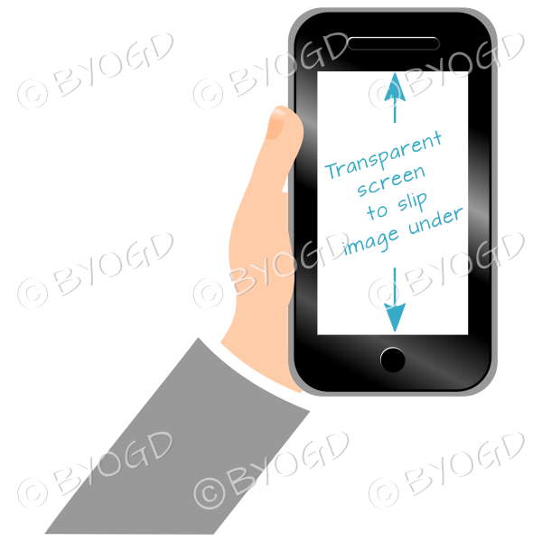 Hand holding clear screen smart phone - Grey
