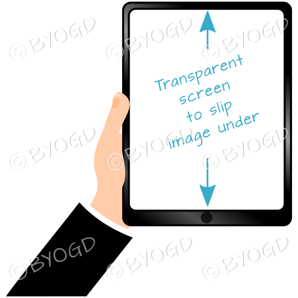 Hand holding clear screen ipad/tablet- Black