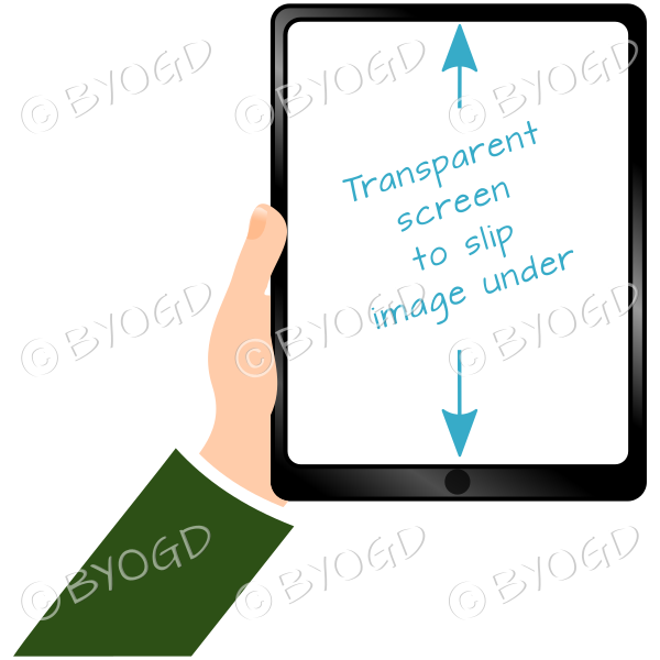 Hand holding clear screen ipad/tablet - Green