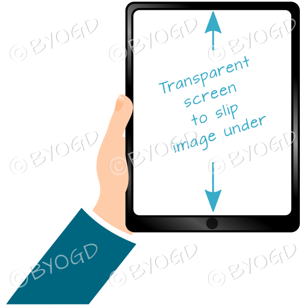 Hand holding clear screen ipad/tablet - Light Blue