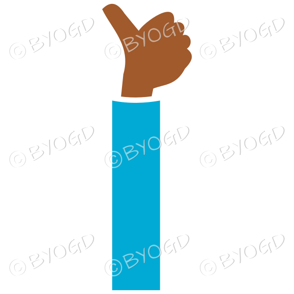 Light blue sleeved thumbs up facing away from you