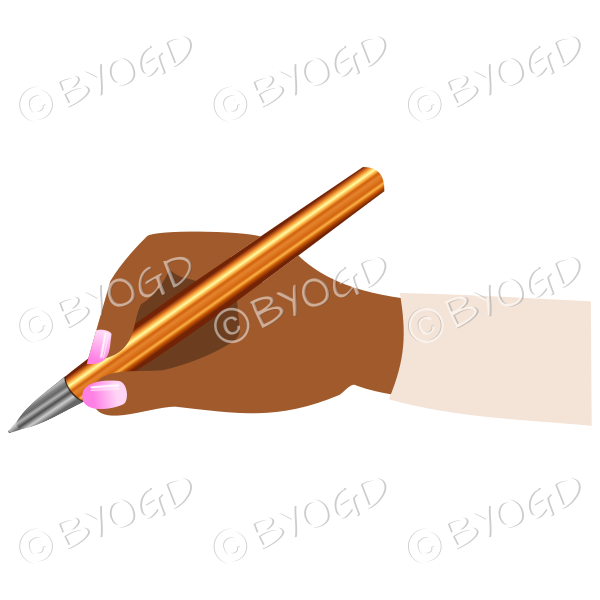 Female hand writing with a shiny gold pen