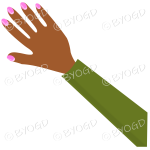 Female hand with green sleeve and nail polish