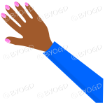 Female hand with blue sleeve and nail polish