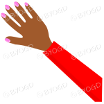 Female hand with red sleeve and nail polish