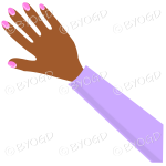 Female hand with purple sleeve and nail polish