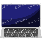 Laptop computer with blank screen for your message