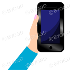 Hand holding a phone with a blank screen - Light Blue sleeve