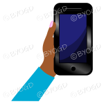 Hand holding a phone with blank screen - Light Blue sleeve